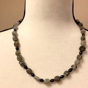 "20"" Healing Gray Jasper black freshwater pearls"